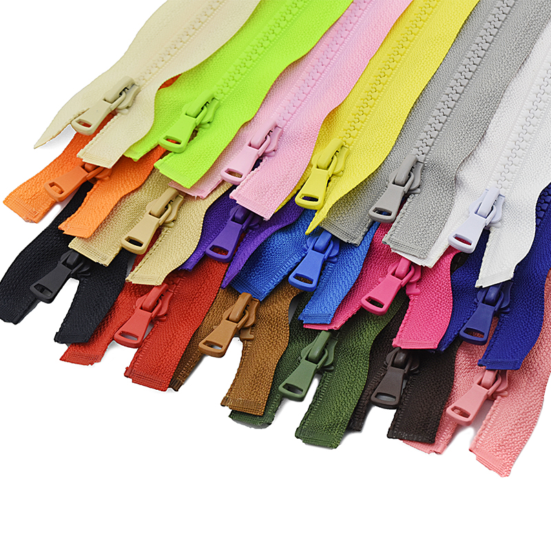 3pcs 5# 30/40/55/60/70/80/90 cm Resin Zipper Open-End Auto Lock ECO Plastic Zippers for Sewing Clothing