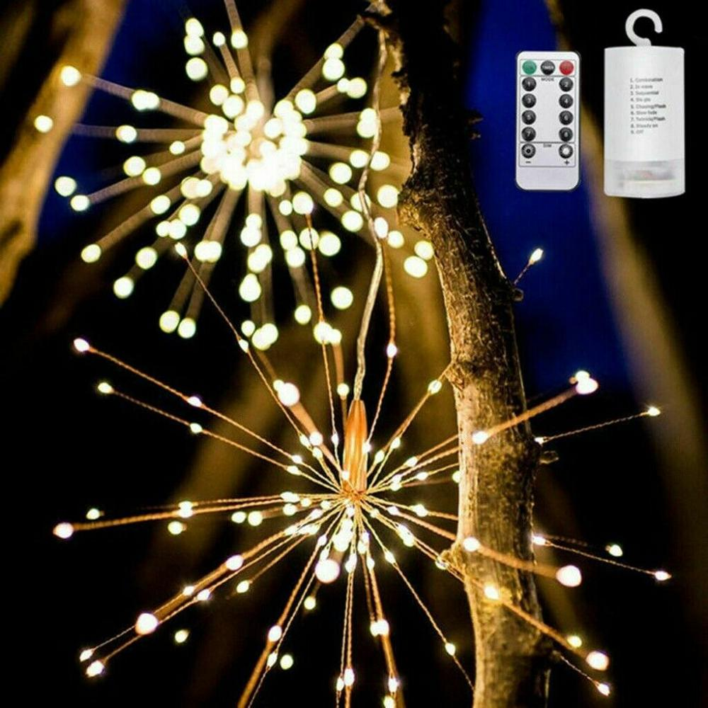 Festival Hanging Starburst String Lights 150 Leds DIY Firework Copper Fairy Garland Christmas Lights Outdoor Twinkle Ligh