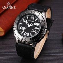 Ananke водонепроницаемые военные часы с календарем черные кожаные