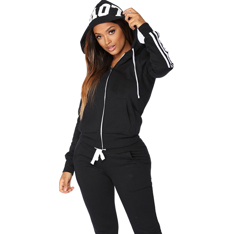 Two Piece Set Tracksuit Women Spring Winter Clothes Conjunto Feminino Zipper Hooded Sweatshirt Trousers Suit Chandal Mujer