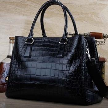 ourui true crocodile belly women Rome package black Bamboo grain Genuine leather handbag package female women bag