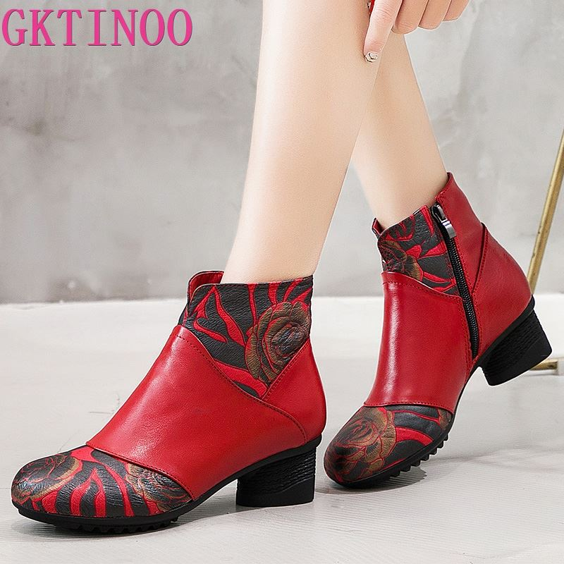 GKTINOO 2019 Winter Booties Women Boots Vintage Genuine Leather High Heel Shoes Round Toe Fashion Ladies Ankle Boots For Women