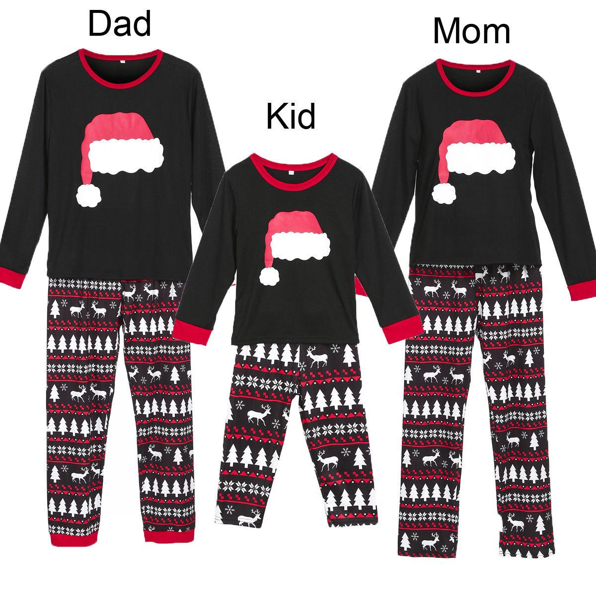 Christmas Family Matching Pajamas Set Adult Women Kids Sleepwear Nightwear US