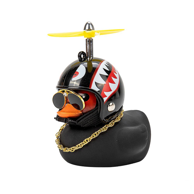 Car Duck with Helmet Broken Wind Small Yellow Duck Road Bike Motor Helmet Riding Cycling Car Accessories Decor Without Lights 5