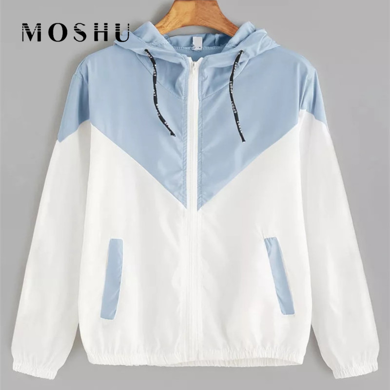 Women Windbreaker Female Zipper Pockets Casual   Basic     Jackets   Long Sleeves Hooded Coats Patchwork Two Tone   Jacket   Autumn 2019