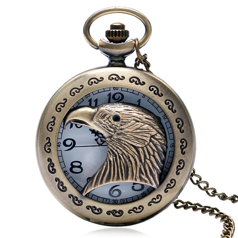 Vintage Lace Cutout Eagle Head Men's Pendant Necklace Quartz Pocket Watch