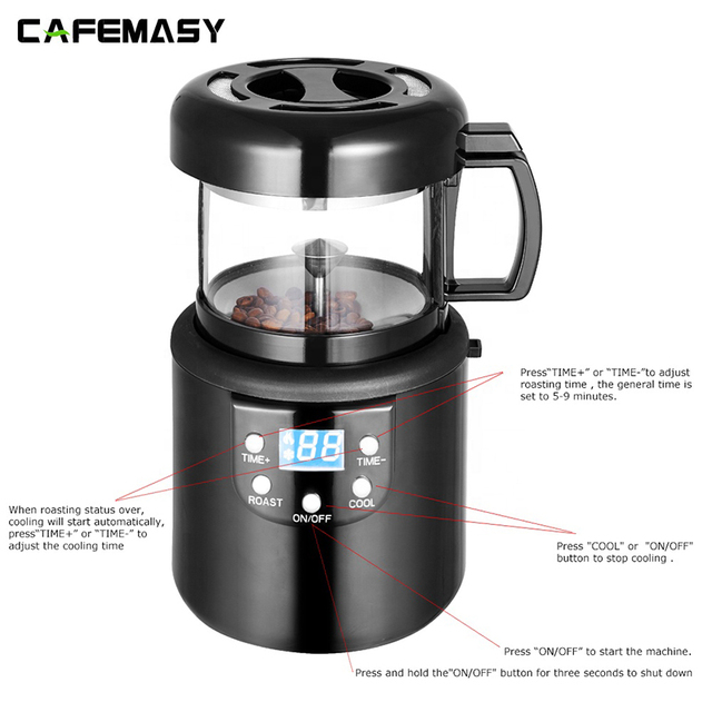 220V Coffee Accessories Home  Coffee Roasting Machine Household Baking Roasted Bean Machine Coffee Roaster 80g 5