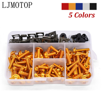 For Honda XR 400 250 125 CRM250R CRF250 M L CRF1000L cb400 175pcs Motorcycle Fairing Body Bolts Kit Fastener Clips Screw Nuts M6 image