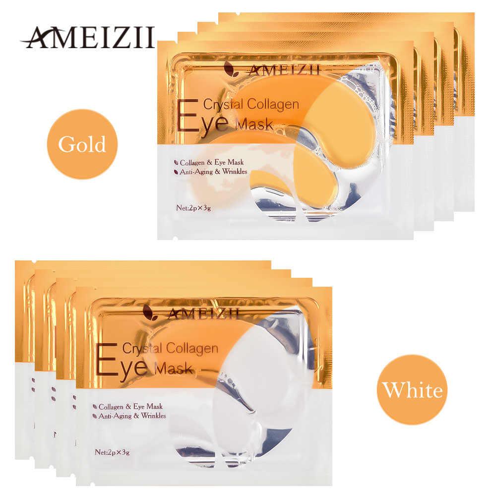 AMEIZII 2Pcs = 1 คู่ 24K Gold Crystal Collagen Eye Mask Eye Patches สำหรับ Eye Care Dark Circles ลบ Anti-Aging Wrinkle Skin Care