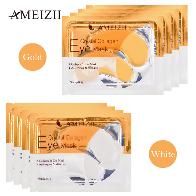 AMEIZII 2Pcs=1Pair 24K Gold Crystal Collagen Eye Mask Eye Patches For Eye Care Dark Circles Remove Anti-Aging Wrinkle Skin Care