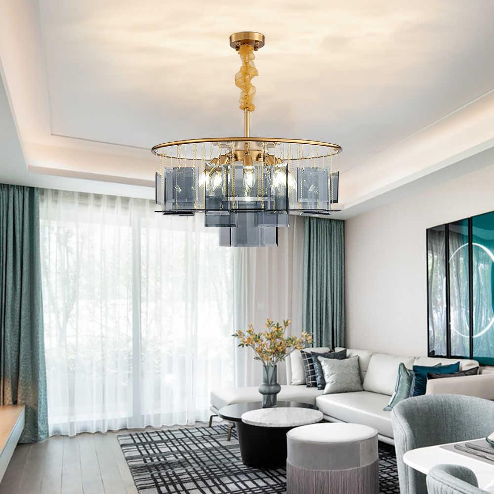 Luxus Ringförmige Kronleuchter mit Bule Glas LED Innen Licht Decke Hängende  Lampe für wohnzimmer esszimmer hotel moderne zimmer