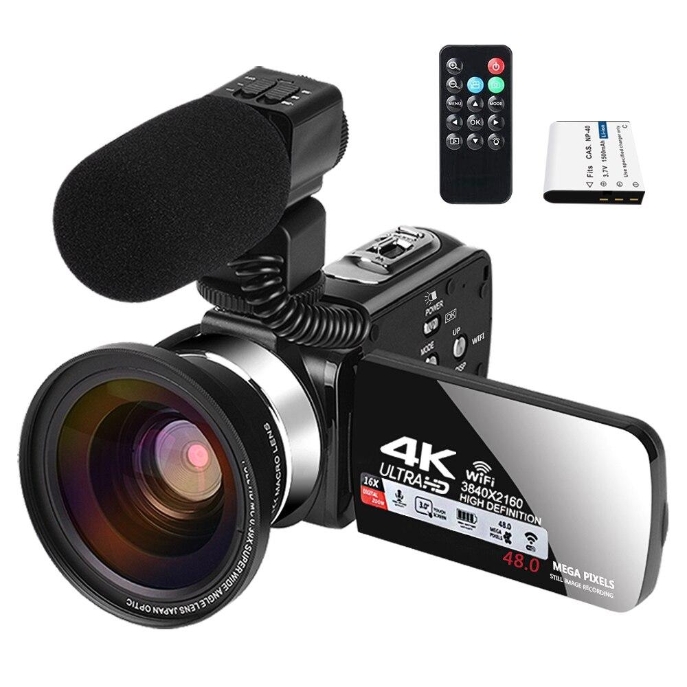 Видеокамера с микрофоном для YouTube, камера для видеозаписи 4K, веб-камера 30FPS 16X, цифровая зум-рекордер, видеокамера с сенсорным экраном