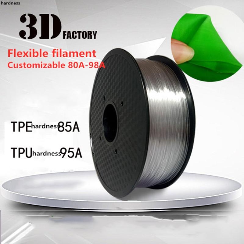ТПЭ нить для 3D принтера ТПУ 0,5 кг печать 1,75 мм эластичные гибкие материалы ± 0,02 мм 1 кг 85A 80A мягкий Лидер продаж Горячая Распродажа