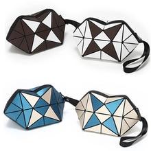Women makeup zip pouch geometry plaid PU cosmetics brushes storage organizer bag parties gadgets hand