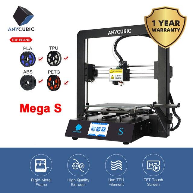 3D принтер ANYCUBIC Mega S Upgrade i3 Mega ABS PLA, устройство для объемной печати, жесткая металлическая рама, Филамент