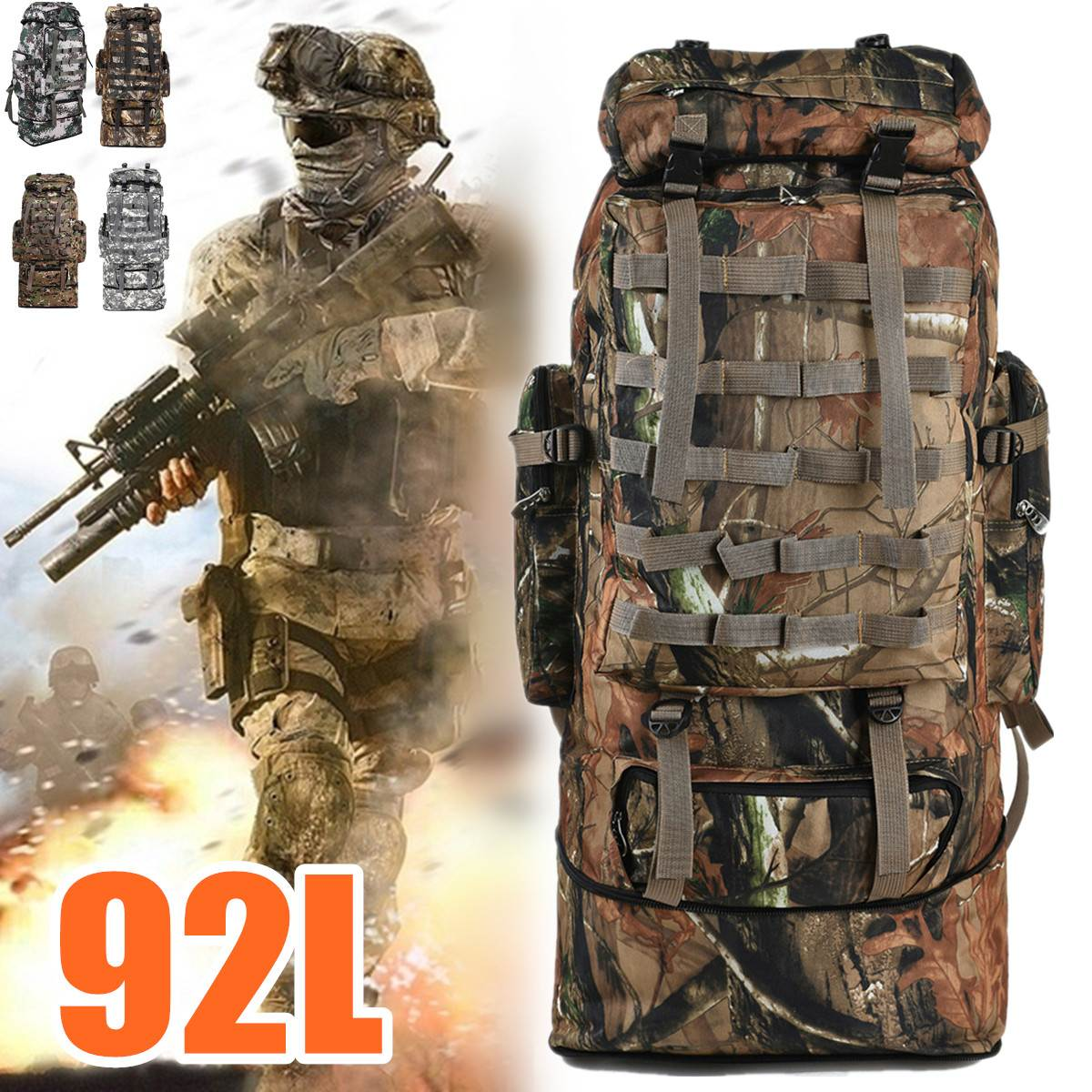 Men Backpack Army Military Tactical 92L Large Capacity Waterproof Outdoor Travel Hiking Camping Hunting 3D Rucksack Bags For Men