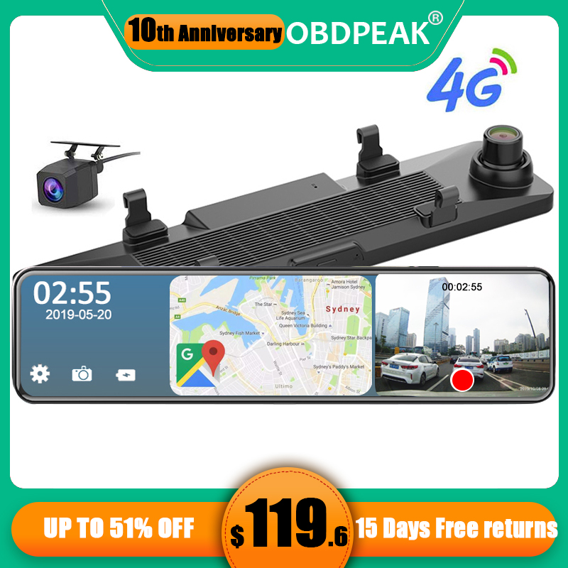 12 Inch Android 8.1 4G Car Rearview Mirror Stream Media GPS Navi Dash Cam Dual 1080P Camera Car Dvr ADAS Super Night RAM 2G+32G