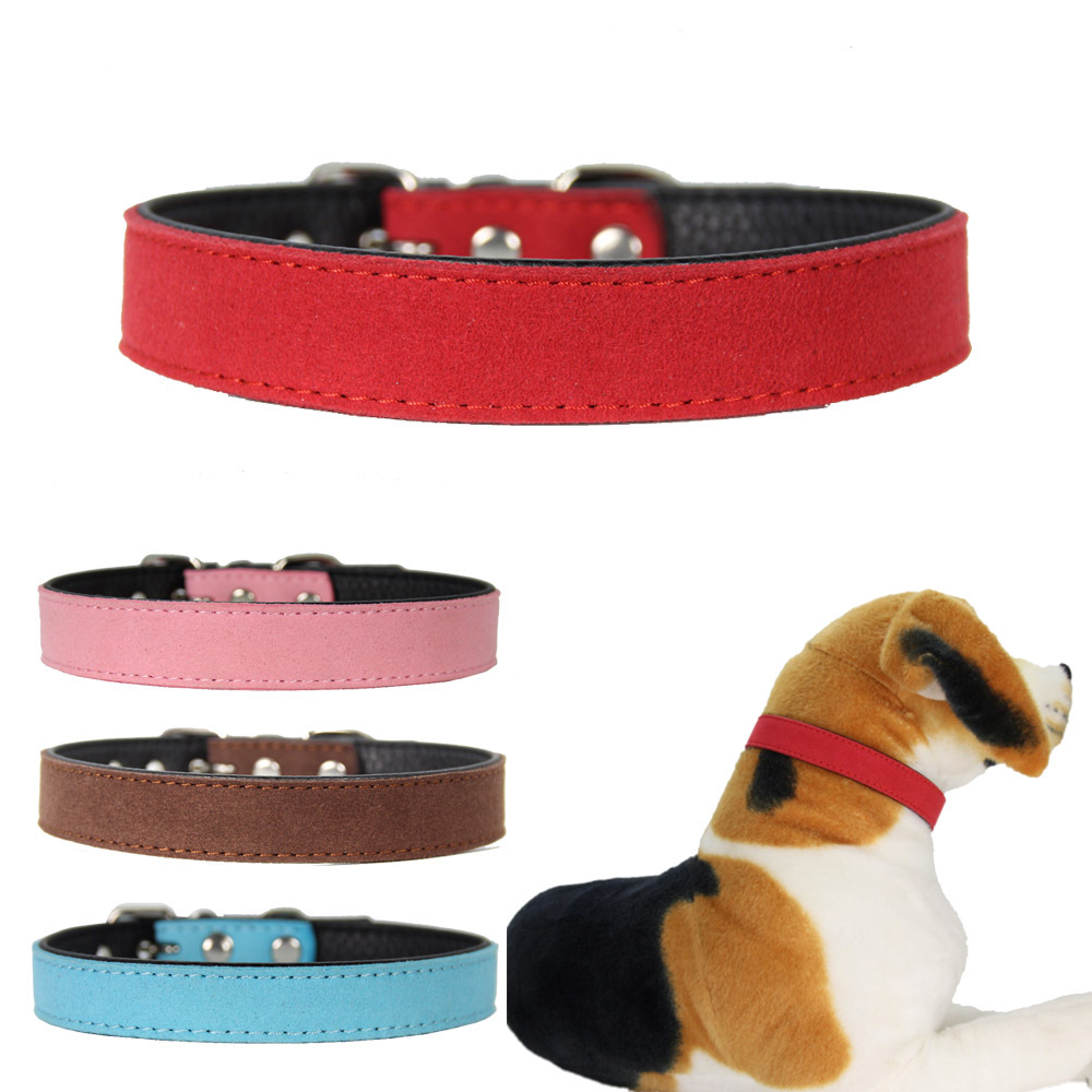 Yiwu Pet Supplies Factory Direct New Style Currently Available Pet Collar Contrast Color Mixed Colors Microfiber Simple Soft Dog