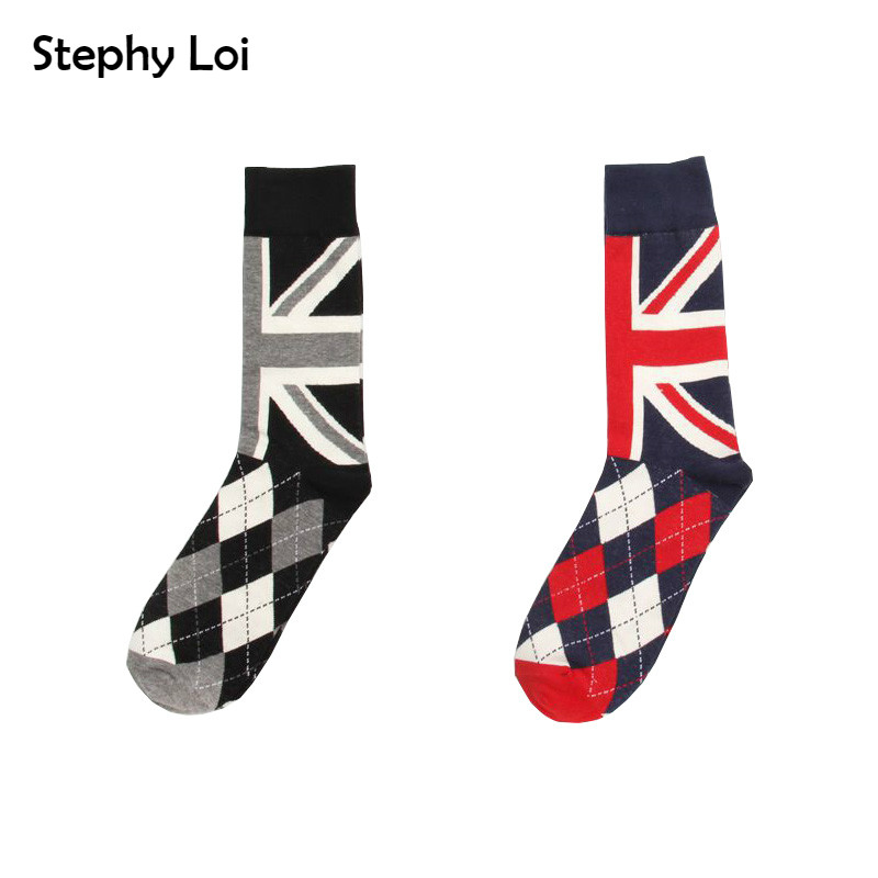 Harajuku Retro Men British Flag Argyle Pattern Cotton Crew Socks Dress Brand Skate Designer Fixed Gear Hip Hop Happy  Men Gift