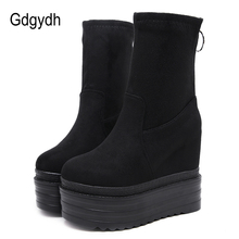 Gdgydh High Quality Womens Autumn Shoes Wedge Suede Elasticated Platform Ankle Boots Casual Shoes With Zipper Black Punk punk shoes big shoes special custom shoes black suede thick high lacing shoes custom 1381 2 platform