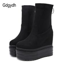 Gdgydh alta qualidade das mulheres sapatos de outono cunha camurça elástico plataforma tornozelo botas sapatos casuais com zíper preto punk primavera