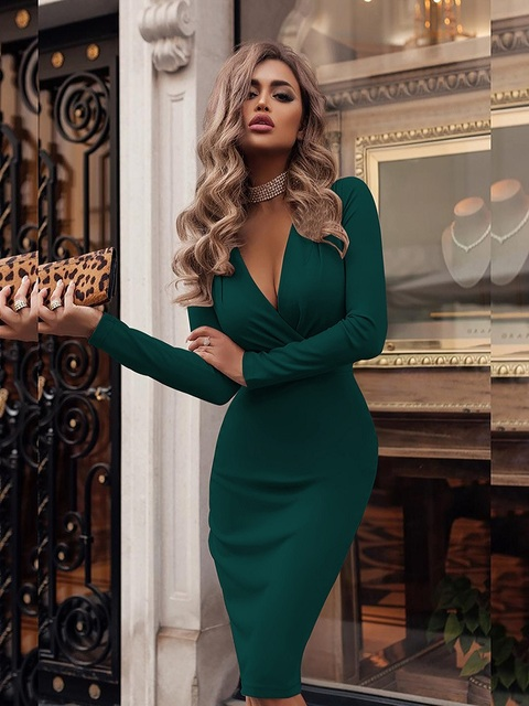 Women's Dress Autumn Winter Casual Solid Color Long Sleeve Elegant Office Lady Dress Sexy Deep V-Neck Bodycon Pencil Party Dress 5