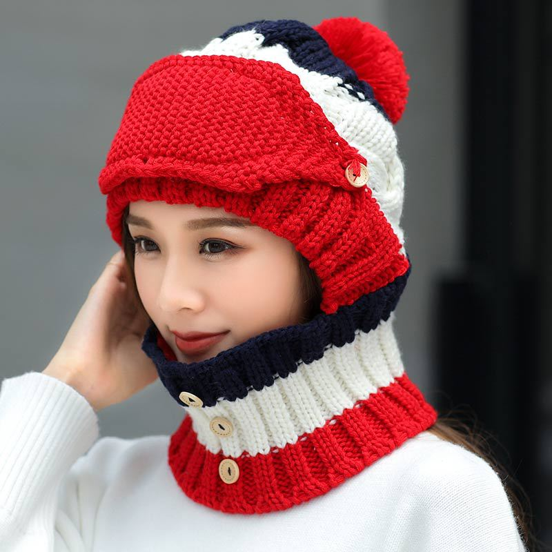 Winter Hat Scarf Set For Women Kitted Thicken Winter Ring Scarves With Masks Men Unisex Winter Hat And Scarf Masks Set