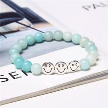 Fashion Alloy Smiley Bracelets Women Handmade Natural Stone Bracelet Male Smile Charms Elastic Bangles Healing Jewelry Gift