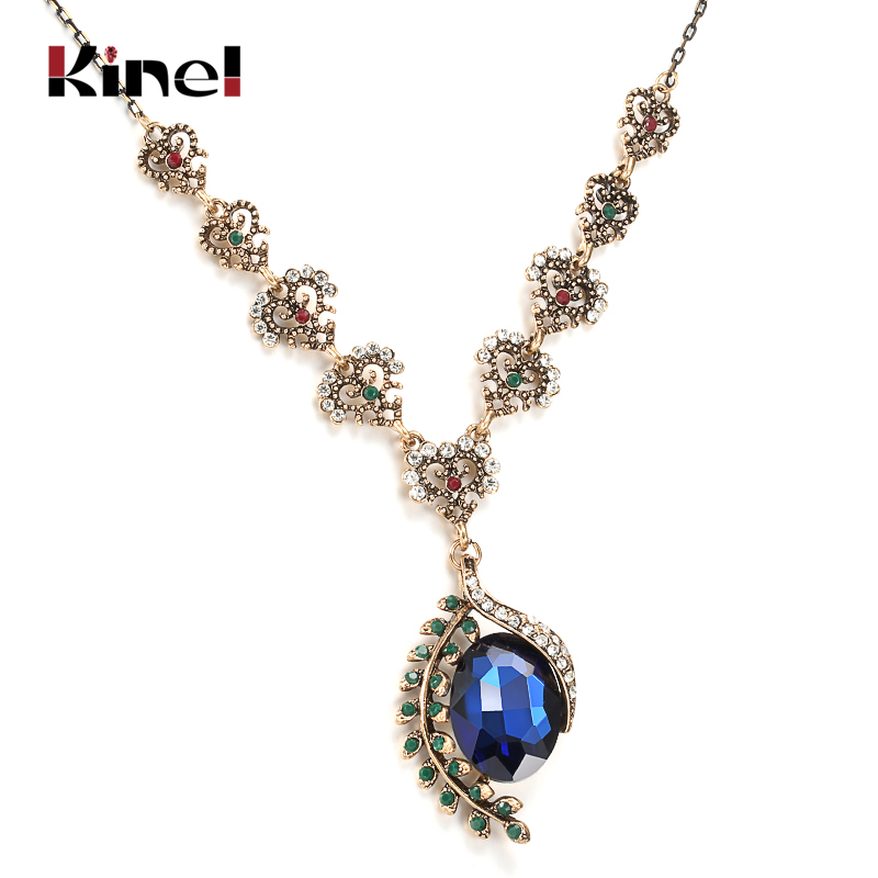 Kinel 2020 Hot Vintage Jewelry Blue Glass Anhengskjede For Damemote Antikk Gullfarge Boho Halskjede 2020 Ny