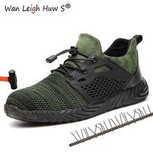 Men Summer Puncture Proof Safety Shoes Men's Outdoor Breathable Mesh Light & Comfortable Steel Toe Protective Work Shoes Boots sitaile breathable mesh steel toe safety shoes men s outdoor anti smashing men light puncture proof comfortable work shoes boot