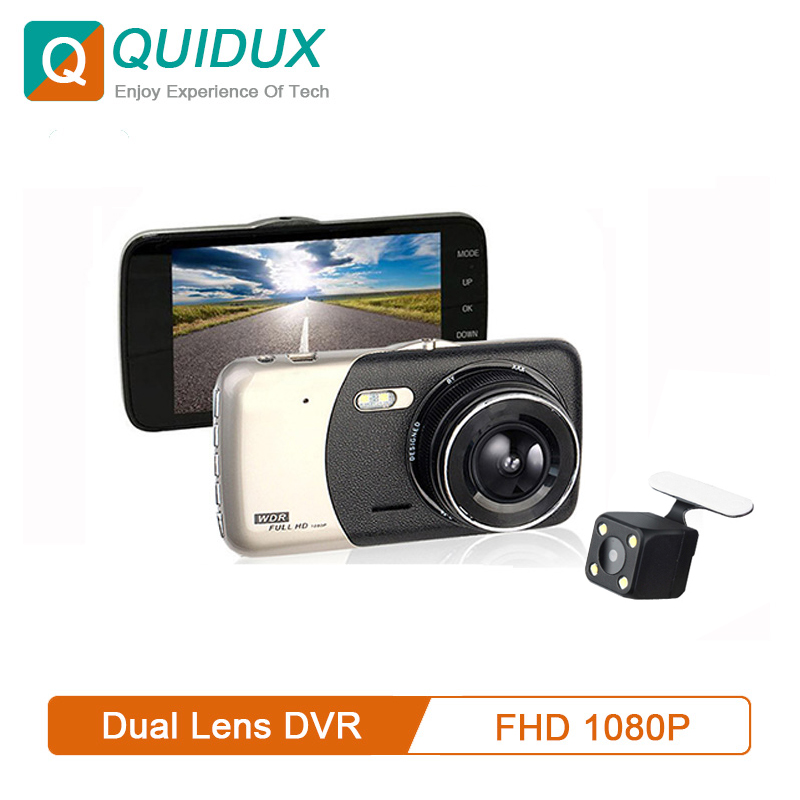 QUIDUX DVR Video-Recorder Parking-Monitor Dash-Cam Rearview Dual-Lens 4-WDR Night-Vision