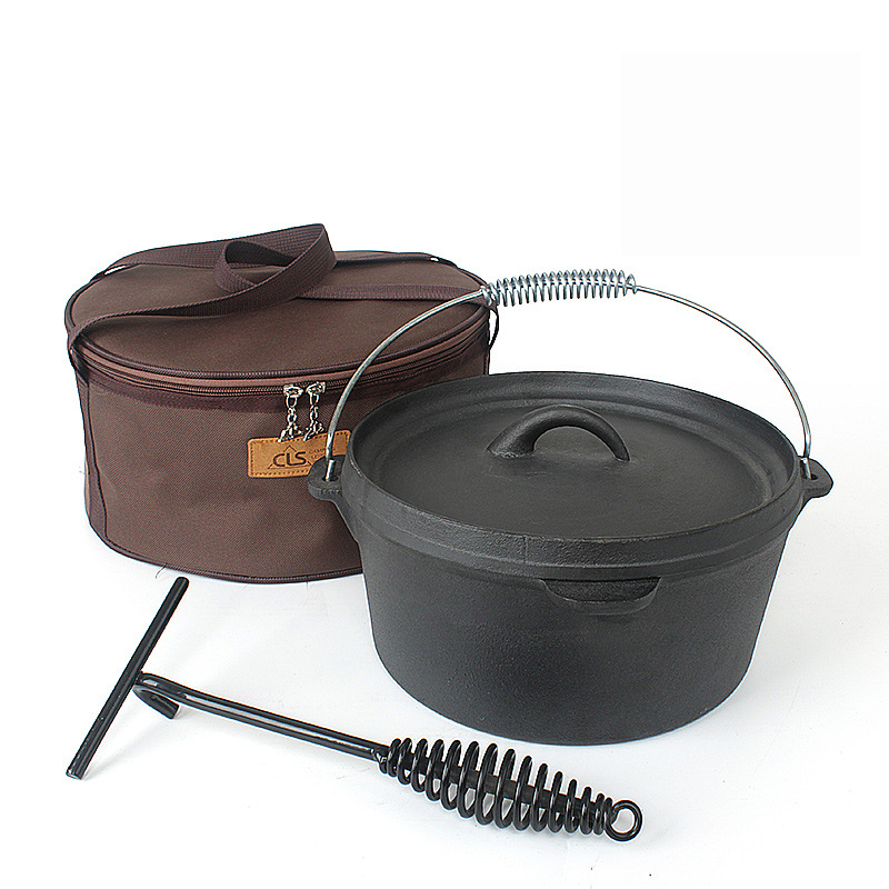 Pot Cast-Iron Outdoor Picnic Soup-Pot Hanging-Pot Chicken-Pig Barbecue Boiling Stew Meat