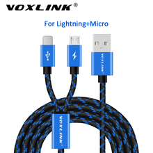 цена на VOXLINK 2 IN 1 USB Cable Micro 8Pin USB Charging Data Cable For iPhone x 8 8plus 6 6s Samsung HTC Huawei Xiaomi USB TypeC Cable