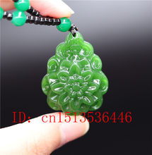 Natural green jade Chinese Flower Pendant Necklace Jewellery Chinese Hand-Carved Relax Healing Fashion Charm Amulet Gifts Women(China)