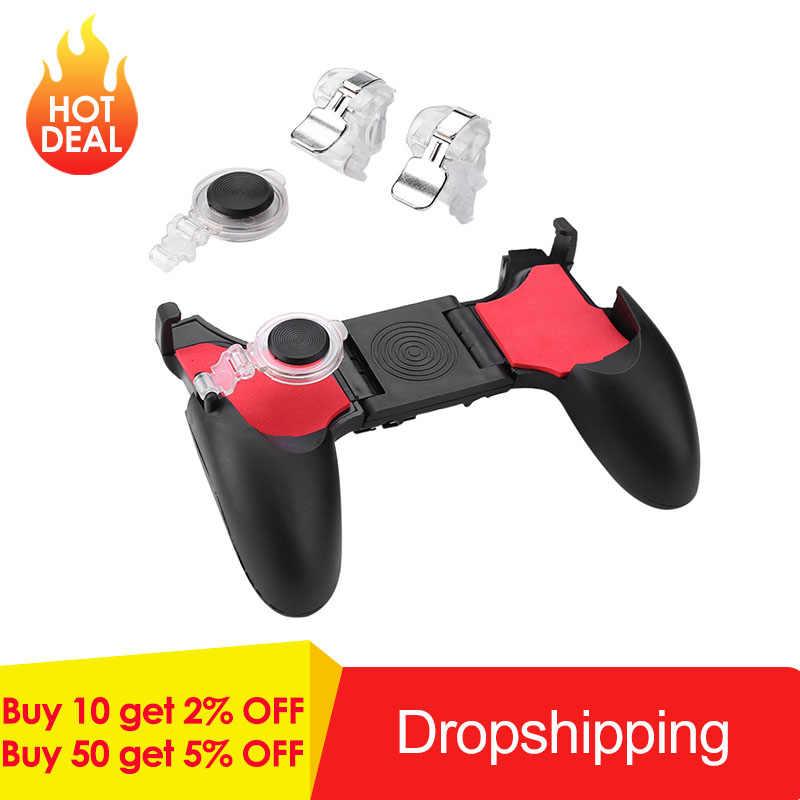 ¡Oferta! 5 en 1 Gamepad de teléfono móvil para PUBG botón disparador móvil L1R1 tirador controlador Joystick Botón de apuntar para disparar juego
