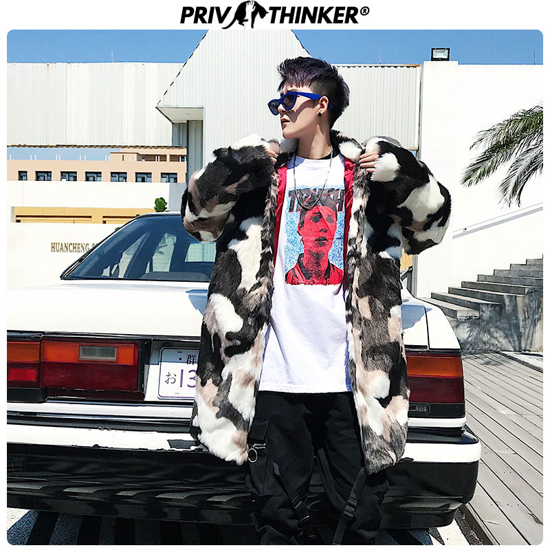 Privathinker, мужской модный Камуфляжный Длинный плащ из искусственного меха, мужская куртка в стиле хип хоп, утолщенная теплая парка, Мужская зим... - 3