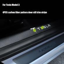 4 Pcs Auto Tür Sill Schutz Aufkleber für Tesla Modell 3 Hohe Qualität Carbon Faser Leder Anti kollision Tür einstiegsleisten