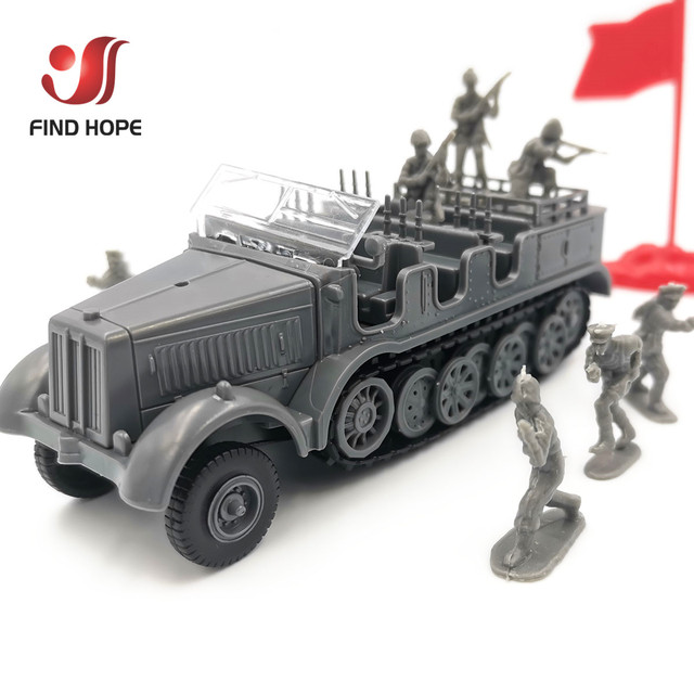 1:72 Sd.Kfz. 7 Half-Track Military Vehicle Plastic Assembly Model Armored Car +10Pcs Soldiers MODEL 1