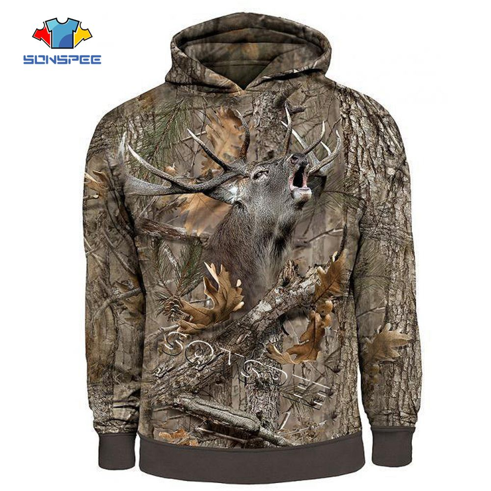 SONSPEE Fashion Streetwear Hooded Sweatshirt Long Sleeve Men Women Casual Pullover Camo HUNTING ANIMALS Elk 3D Zip Hoodies Hoody