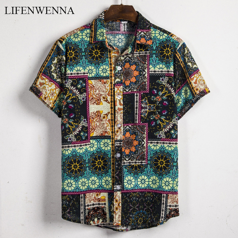 2020 New Fashion Casual Men's Shirt Short Sleeve Print Hawaii Shirt Men Summer New Design Mens Beach Shirts Men Flower Shirt XXL