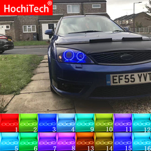 האחרון פנס רב צבע RGB LED אנג ל עיני Halo טבעת עין DRL RF שלט רחוק עבור פורד מונדיאו MK3 2001 2007 אביזרים