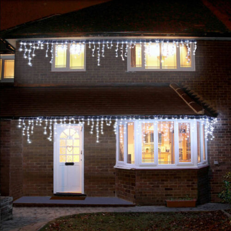 Christmas Garland LED Curtain Icicle String Lights 3.5M/5M Droop 0.4/0.5/0.6m Party Garden Street Wedding Decorative Fairy Light