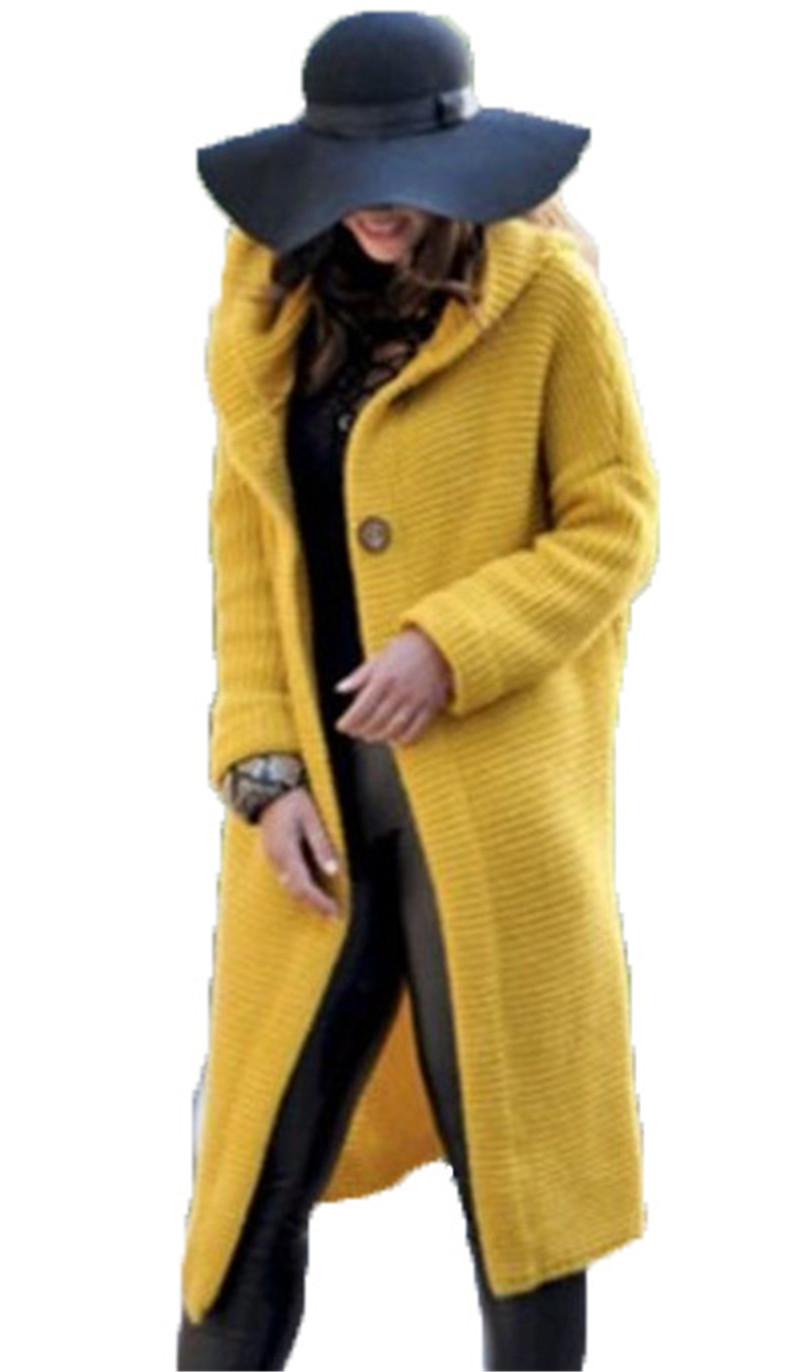 Autumn Winter Women Hooded Coat Cashmere Cardigan Sweater Coat Lady Solid Color Coat Thick Soft Fashion Jacket