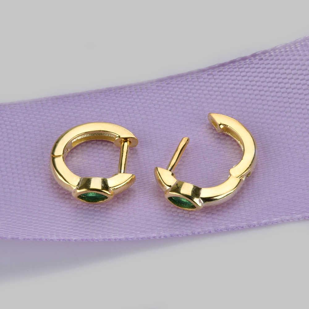 Altruist 925 Sterling Silver Marquise Slim Ring Huggie Klip Piercing CZ Mini Lingkaran Loop Cincin Anting-Anting 2019 Wanita Fashion Perhiasan