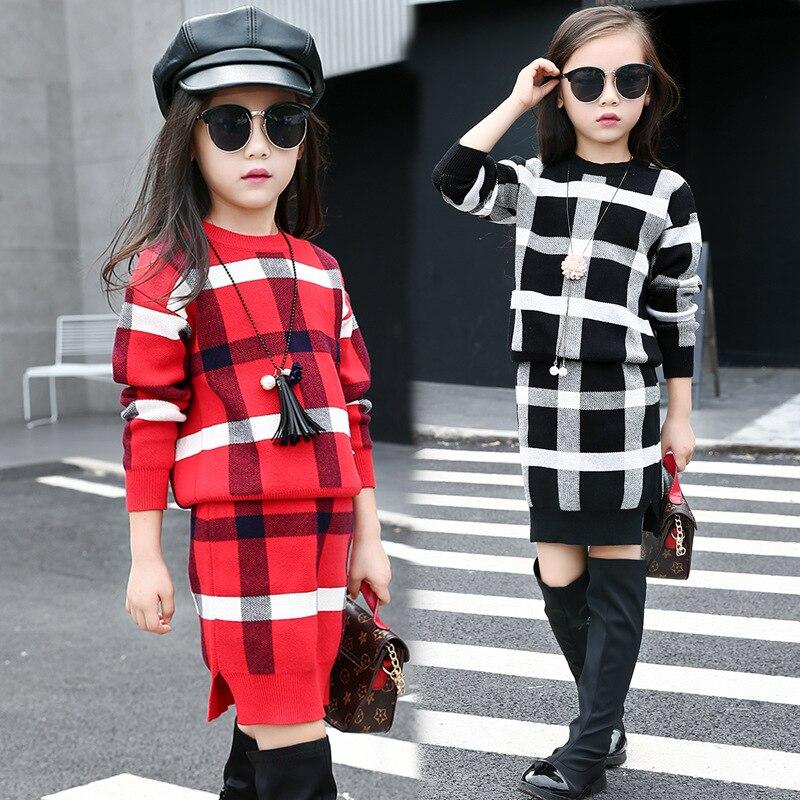 5 ~ 11T adolescents filles printemps automne tenues vêtements pour adolescente fille grille hauts jupe vêtements ensemble formel Boutique Plaid vêtements - 4