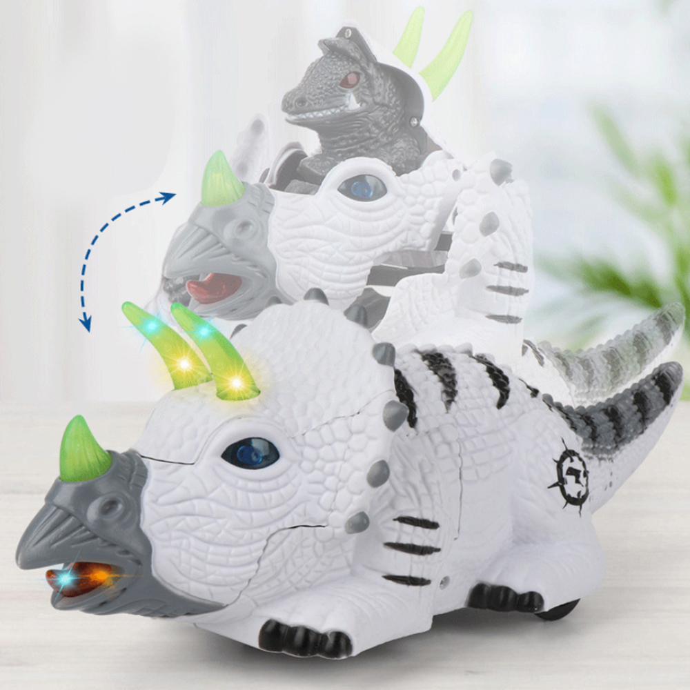 2020 New 1pc Electric Deformation Dinosaur Robot Walking Toy With Sound Light Educational Toys Triceratops Car Model Kids Gifts