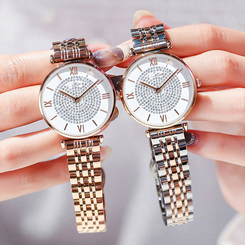 Luxury Crystal Women Bracelet Watches 2019 Top Brand Fashion Casual Quartz Full Steel Round Dial Waterproof Female Wristwatches