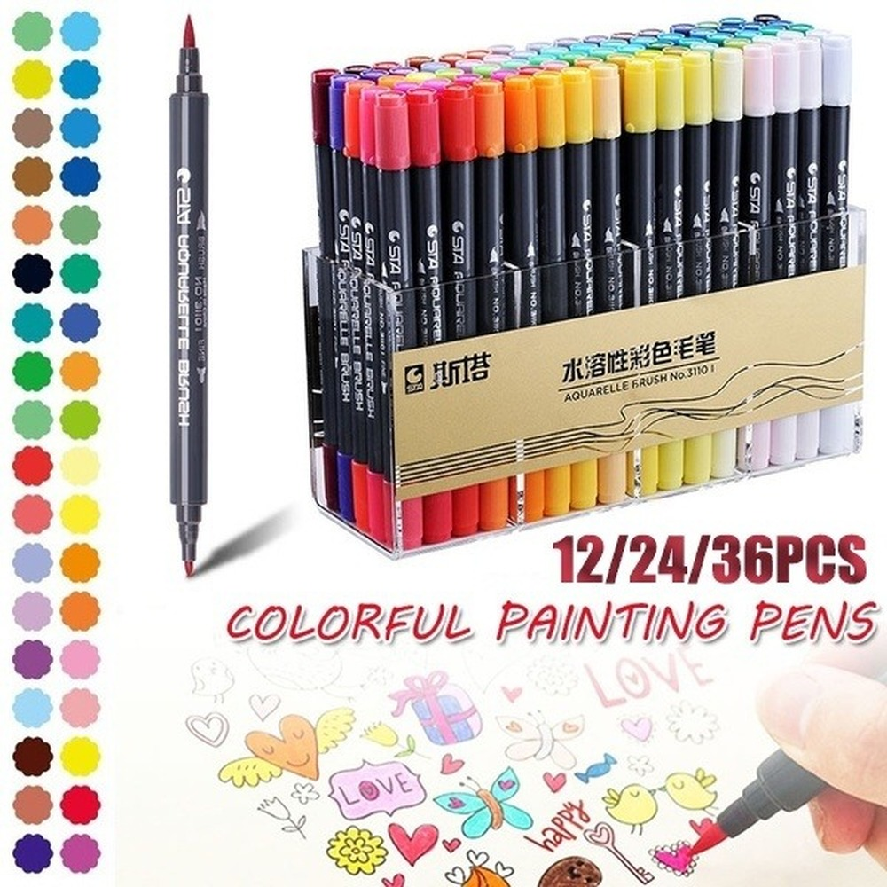 1/5/12/24/36/48/80 Colors Dual Head Tips Watercolor Brush Marker Pen Set With Fineliner Tip For Drawing Design Marker Supplies