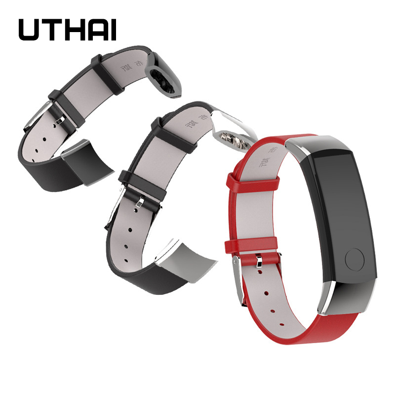 UTHAI P47 Genuine Leather Strap For Huawei Honor Band 3 Smart Watch Soft Bracelet Strap