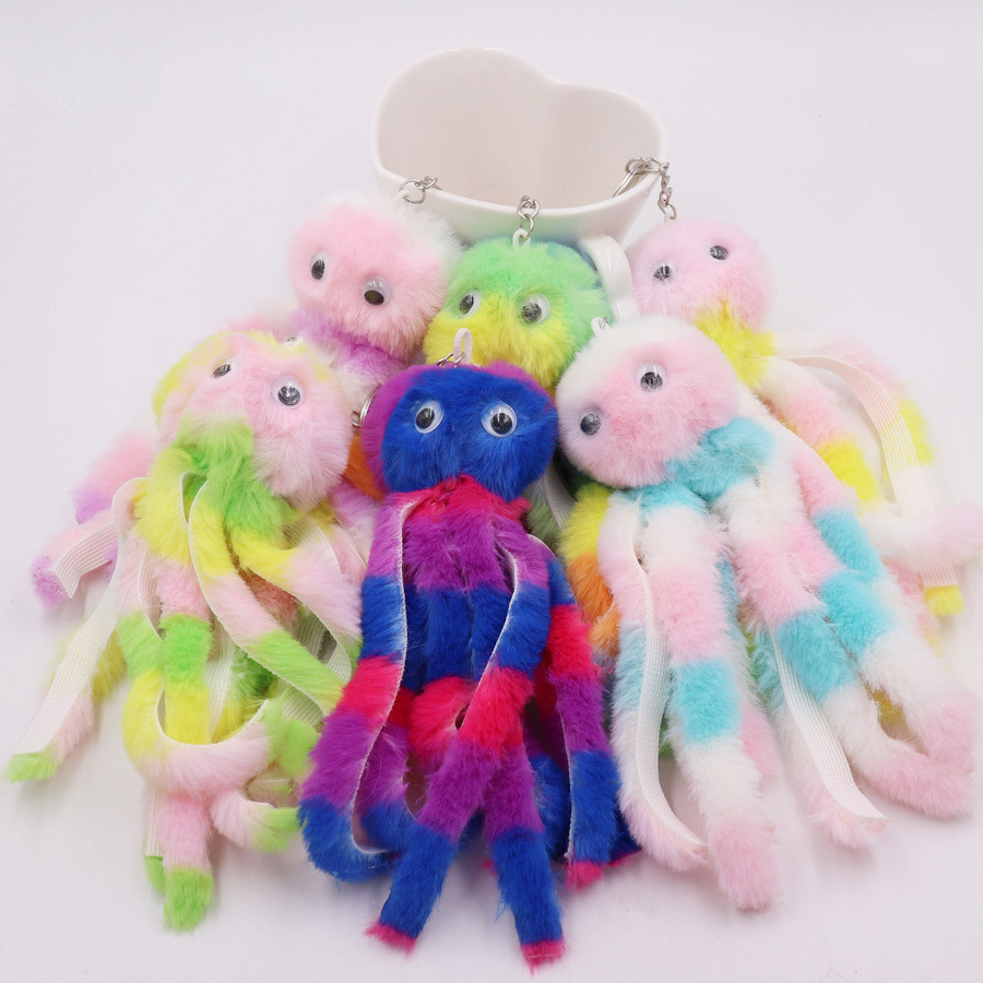 New Arrival Long Tassel Fluffy Key Chain Cute Colorful Octopus Keychains Women Pompom Faux Rabbit Fur Car Key Ring Bag Pendant